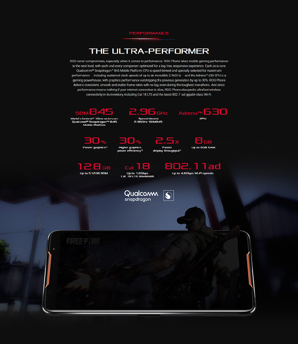 "ASUS ROG Telephone ZS600KL 8GB RAM 128GB ROM Gaming Phone Snapdragon 845 2.96GHz 6.0""18:9 AMOLED Screen Android8.1 4000mAh OTA 46"