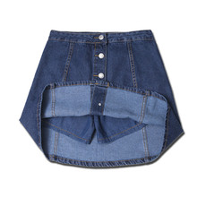 Summer Women Jeans Denim Skirt Button Plus Size XXL Vintage Blue Short Mini Skirts Womens Female Fashion Casual Brand 2017 YY560