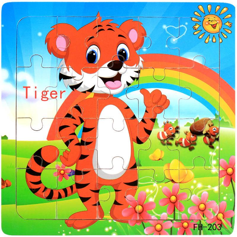 Деревянные пазлы игрушки 20 шт. дети радость Превосходное качество головоломки деревянные Мультяшные животные Развивающие головоломки игрушки для детей - Цвет: 08