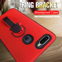 все цены на Shockproof Rubber Bumper Hard Back Cover For OPPO F9 F9 Pro Metal Ring Stand Soft Webbing Case For R11 R11 Pro Realme 3 3 Pro онлайн