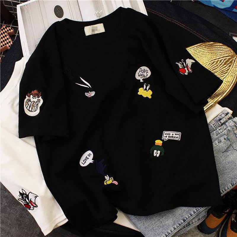 Plus Size Women's Summer T-Shirts 2019 New O-Neck Short Sleeve Cute Cartoon T-Shirt for Girls Students Lady BF Style Tops Tees 4