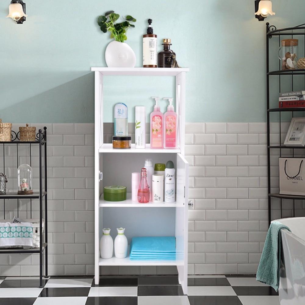 Giantex Storage Floor Cabinet Bathroom Organizer Floor Towels Cabinet Single Door Modern Bathroom Furniture HW57017