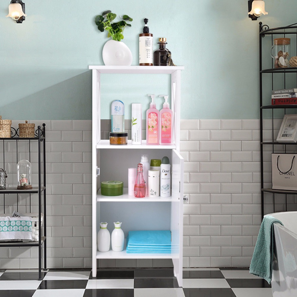 Giantex Storage Floor Cabinet Bathroom Organizer Floor ...