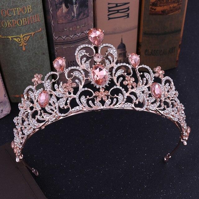 Baroque Luxury Pink Crystal Leaf Wedding Crown Queen Tiara Bride Crown Headband Bridal Accessories Diadem Marriage Hair Ornament