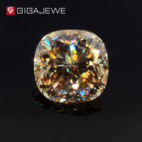 GIGAJEWE Excellent Quality Big Size Cut Yellow Color 3.2ct Cushion Moissanite Loose Stone Synthetic Beads for jewelry making
