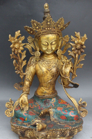009066 20 Tibet Buddhism Bronze Gilt Cloisonne Enamel Green Tara Goddess Buddha Statue