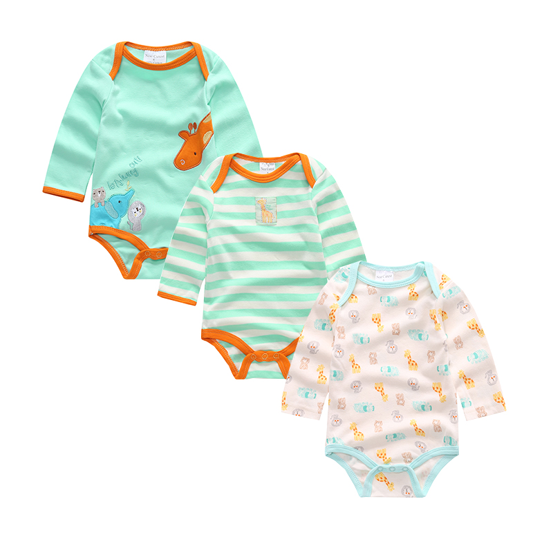 Near Cutest 3pcs/lot Baby Romper Newborn Baby Girl Boy Clothes Long Sleeve 100% Cotton Infant Clothes