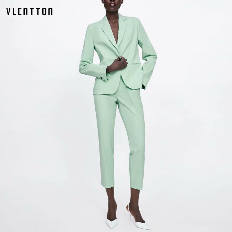 2019 OL Green Two Piece Suit Set Women Spring Summer Single Button Blazer Jacket High Waist Women's Pant Suits Office 2 Piece