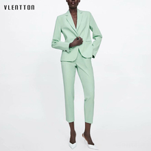 2019 OL Green Two Piece Suit Set Women Spring Summer Single