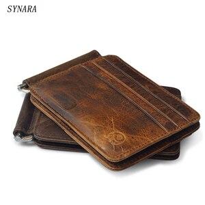 Crazy horse Leather Genuine Vintage Money Clip Wallet Purse Men High quality Clip for Money holder Removable metal clip