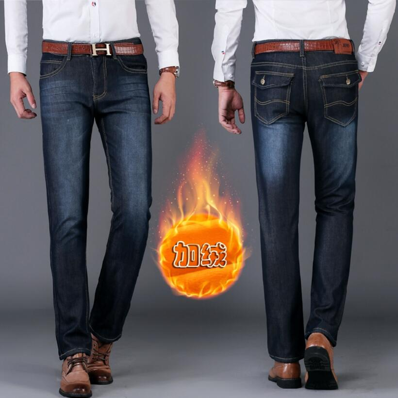 Winter Warm Denim Jeans Men Heavyweight Straight Denim Jeans New Fashion Male Navy Blue Thick Warm Jeans Cowboy Trousers Size38  new fashion style hot sale autumn winter thick male jeans straight slim looking men full length pants heavyweight solid cozy