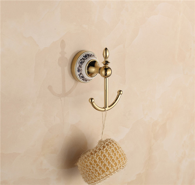 wholesale porcelain gold plated decorative wall hooks bathroom ...