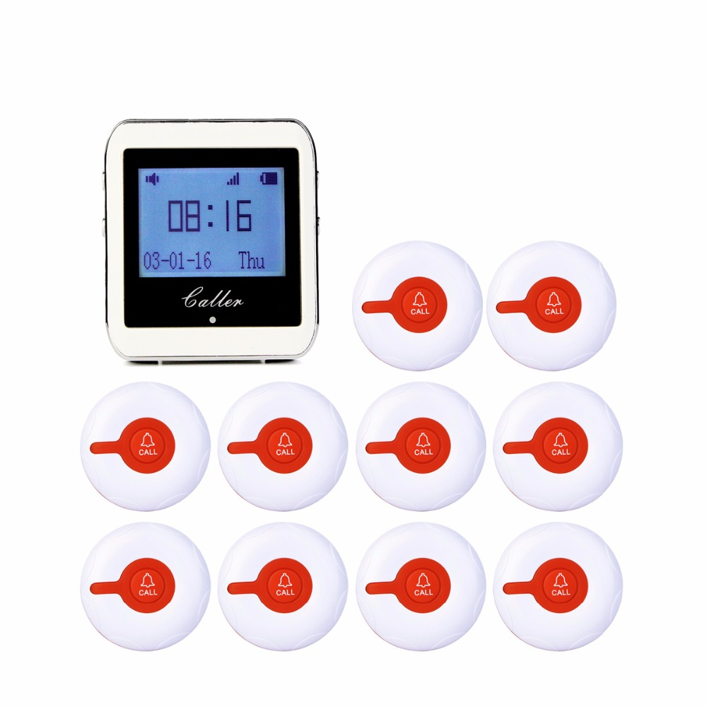 999 Channel RF Wireless White Wrist Watch Receiver For Fast Food Shop Restaurant Calling Paging System 433MHz +10 Button F3288B tivdio 1 watch pager receiver 7 call button wireless calling system restaurant paging system restaurant equipment f3288b