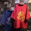 SOSHIRL Japonés Camiseta de Verano Espalda Del Dragón Bordado Albornoz Kimono Cardigan Mujeres Harajuku Rojo/Azul Camisas Largas