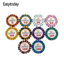 Easytoday 25Pcs/set Professional 14g Clay Poker Chips Coins Baccarat Texas Holdem 11 Face Values Standard Games
