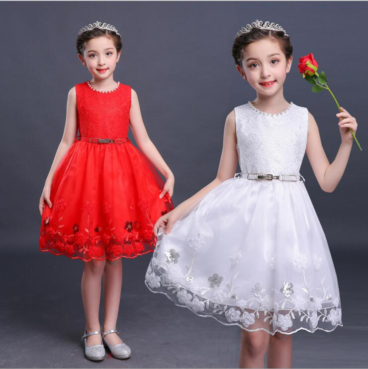 New Girls Lace floral dress Teenager prom designs Solid Color princess dresses Kids Sleeveless costume for party and wedding new high quality fashion excellent girl party dress with big lace bow color purple princess dresses for wedding and birthday