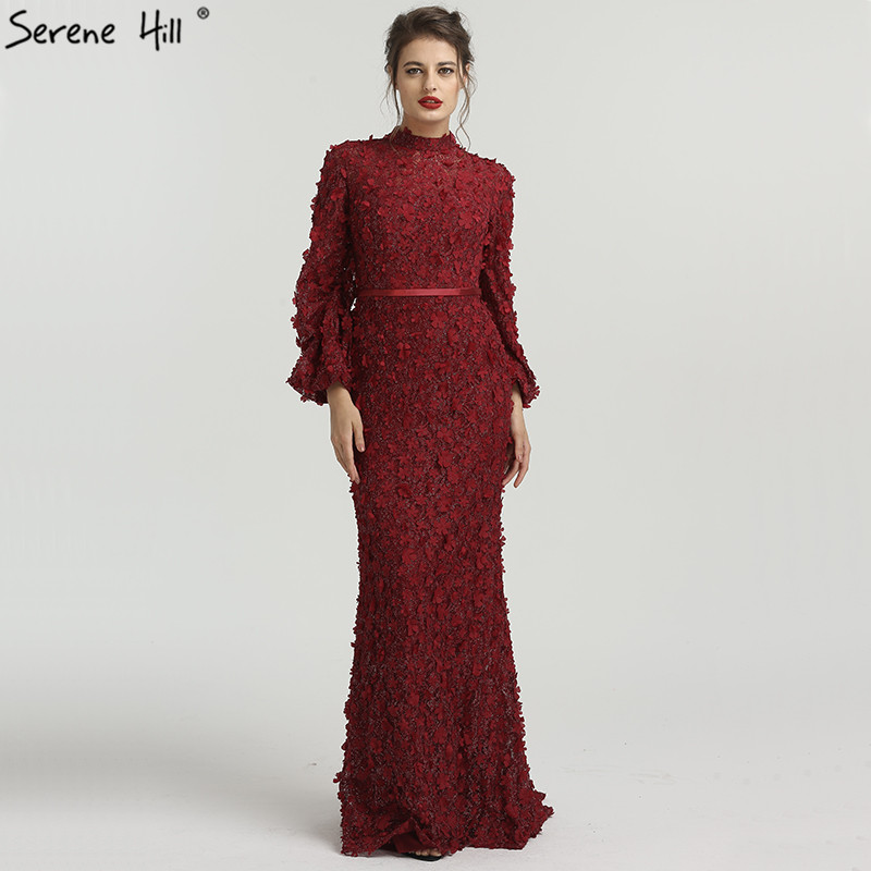 Flowers Pearls Long Sleeves Mermaid Evening Dresses Muslim Fashion Elegant Tulle Evening Gowns 2019 Serene Hill LA6293(China)