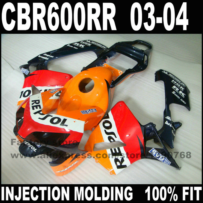 Custom Injection motorcycle parts for  CBR 600 RR 2003 2004 CBR600RR F5 fairings set  03 04 CBR600 repsol fairing bodykits arashi motorcycle parts radiator grille protective cover grill guard protector for 2003 2004 2005 2006 honda cbr600rr cbr 600 rr