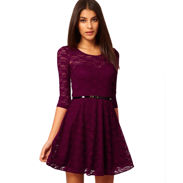 New Women Summer Autumn Casual Dresses Sexy Half Sleeve sexy Lace Dress With Belt 63