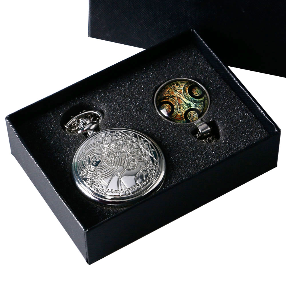 Vintage Silver Doctor Who Pocket Watch Chian Pendant Women Men's Gifts Box Set Pendant Necklace 2018
