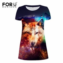 FORUDESIGNS Cool Animal Wolf Printed Women Dress Colorful Galaxy Space Summer Female Round neck Short One-piece Casual