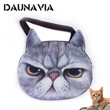 2017 Hot cute 3D cat face female handbag Messenger bag handbag animal canvas shoulder bag face zipper wholesale 5 colors ND006