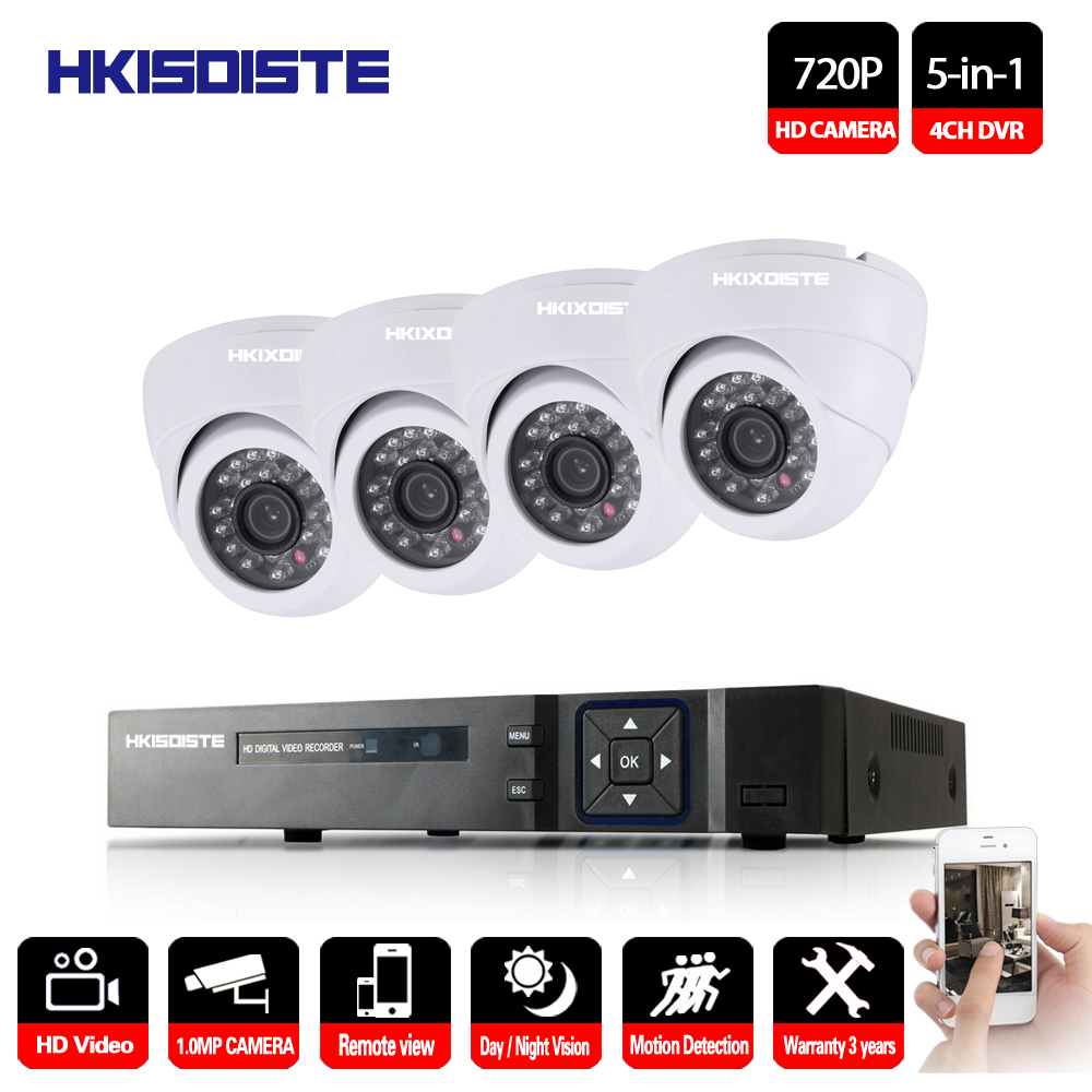 HKIXDISTE 4CH DVR CCTV System 4PCS Cameras 1.0MP IR Outdoor Indoor Security Camera 720P Video Surveillance Kit Home CCTV Set