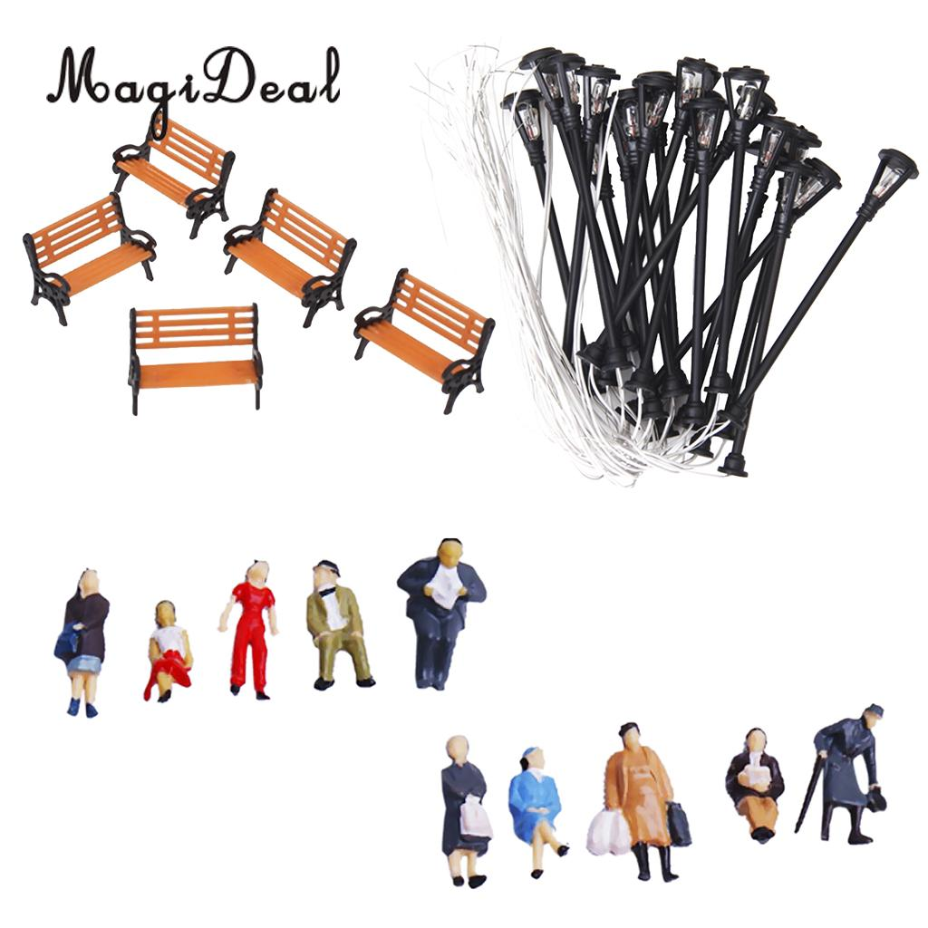 1Set Painted People Figures/Bench/Lamppost Lights Model for