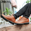LIN KING New Fashion Men Warm Winter Boots Lace-up Solid High Top Military boots Round Toe Thick Sole Comfortable Ankle Boots