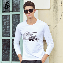 Pioneer Camp long sleeve T shirt men 2017 new fashion brand clothing high quality comfort cotton elastic casual male t-shirt