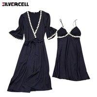 SILVERCELL סאטן משי מלאכותי חלוקי רחצה + מרופד סט השינה השמלה Nightwear נשים הלבשת Homewear 2 יחידות
