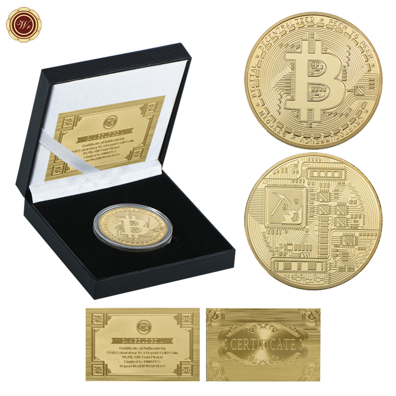 WR Bitcoin Coin Gold Plated Challenge Coin with Quality Gift Box Silk Road Bitcoin Gold Coins Collectibles for Birthday Gifts
