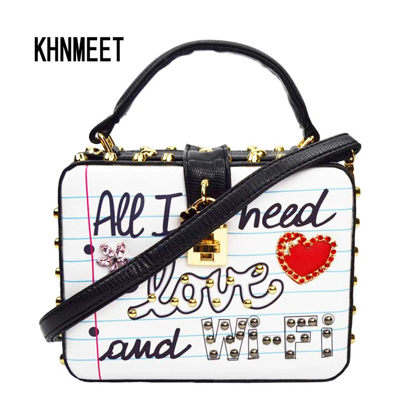 Heart Shaped Women Messenger Bag Letter Love Shoulder Bag Fashion Personality Lady Chain Crossbody Bags Box