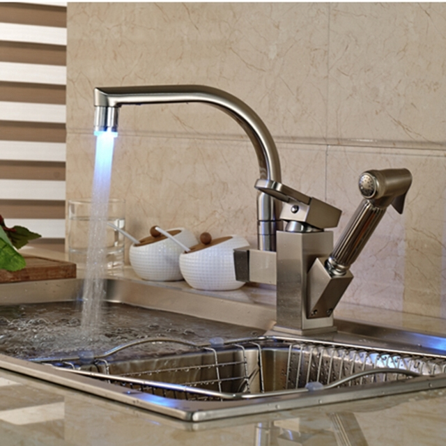 Led Changing Brushed Nickel Kitchen Faucet Deck Mounted Vessel Sink