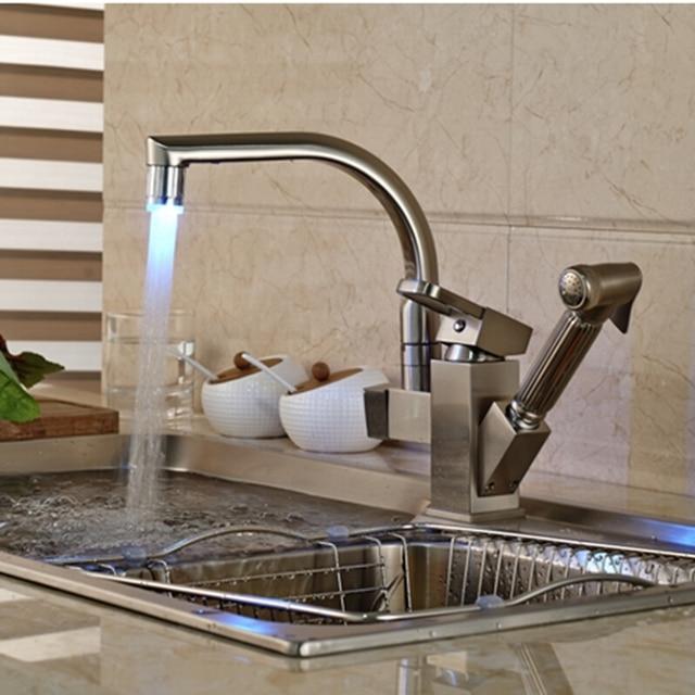 Led Changing Brushed Nickel Kitchen Faucet Deck Mounted Vessel Sink