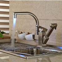LED Changing Brushed Nickel Kitchen Faucet Deck Mounted Vessel Sink Mixer Tap Pull Out Sprayer Sink Tap
