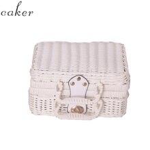 Caker Brand 2019  Women Square Ratton Box White Pink Summer Beach Bags Drop Shipping