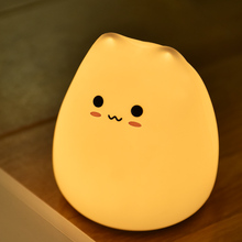 LED Colorful Night Light Animal Cat Stype Silicone Soft Breathing Cartoon Baby Nursery Lamp For Children Gift Home Light Lamp