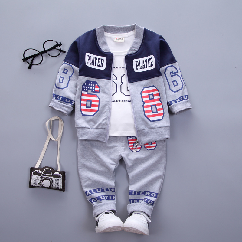 Baby Boys Girls Clothing Sets Spring Autumn Kids Clothes Toddler Cotton Cartoon Letter Casual shirts+Coat+pants 3PCS suit