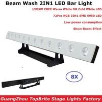 2IN1 Lavagem feixe LEVOU Bar Luzes 12X3W CREE LEDS DMX Wash Bar Luz Cavalo Running Back Ground iluminação 3IN1 72Pcs RGB SMD 5050 LED