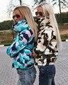 Desgaste neve casaco amassado fêmea 2016 outono mulheres de slim curto de algodão acolchoado casaco de Camuflagem outerwear casacos de inverno manteau femme