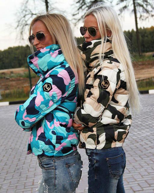 Snow wear wadded jacket female 2016 autumn women slim short cotton padded coat Camouflage outerwear winter coats manteau femme
