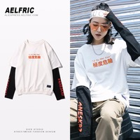 Aelfric Korean Style T Shirts Color Block Patchwork Long Sleeve T Shirt Autumn Printed O Neck Women Casual Tee Shirt Femme RN10