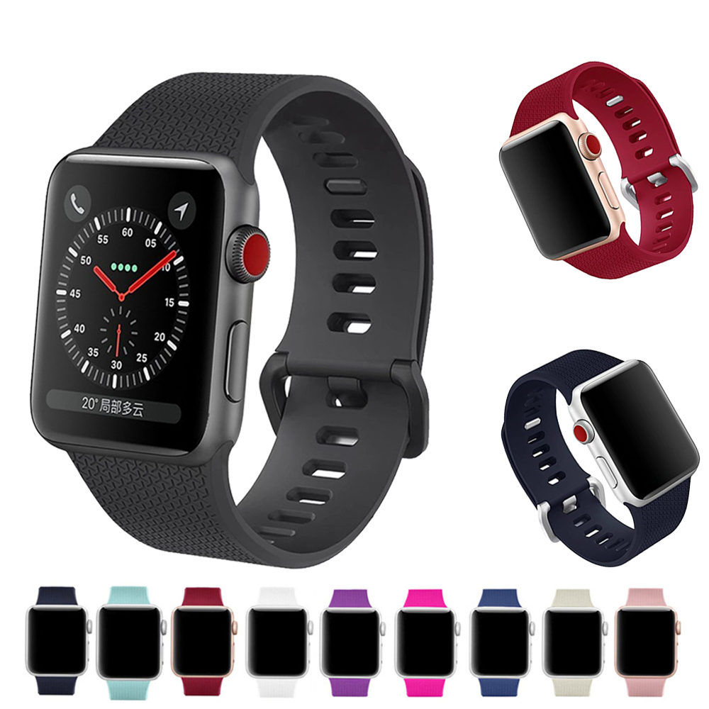 Sport watch strap for apple watch bands 42mm 38mm iWatch 3 2 1 silicone wrist band belt watchband with metal Classic Buckle 6 colors luxury genuine leather watchband for apple watch sport iwatch 38mm 42mm watch wrist strap bracelect replacement