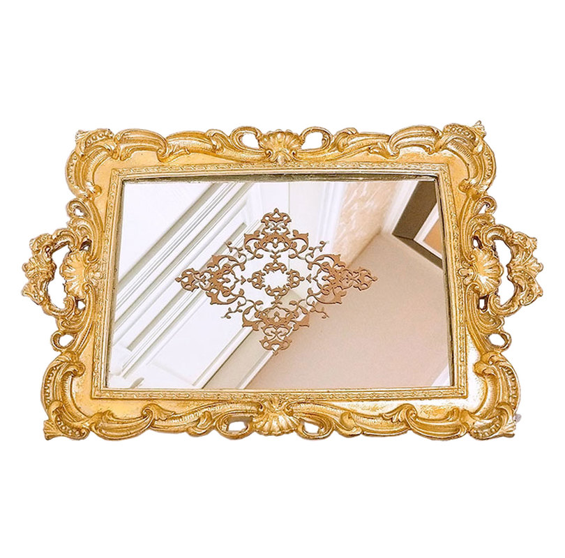 Golden Europe Resin Mirror Plates Jewelry Earring Necklace Tray Ivory White Palace Carved Flowers Golden Mirror Storage Trays