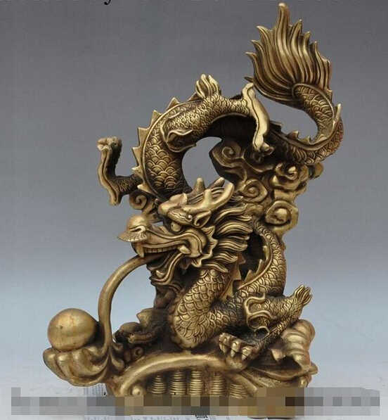 "SUIRONG 1228+++18""lucky china brass wealth money coin animal zodiac fly dragon play bead statue"