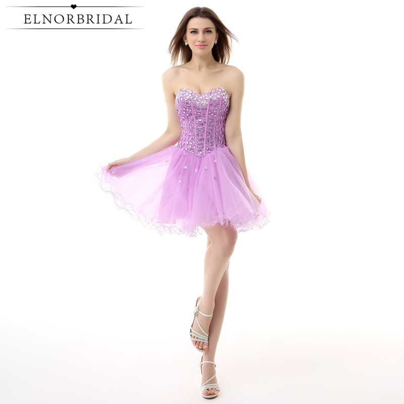 Elnorbridal Real Photo Lavender Cocktail Dresses With Crystal Beading 2018 Robe De Cocktail Noire Short Prom Homecoming Dress