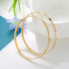 Simple Metal Glossy Geometric Big Circle Earrings Vintage Hoop For Women Fashion Jewelry Accessories Gift