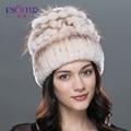 Mujer de sombrero de piel de invierno natural rex conejo gorro de piel de zorro ruso sombrero de piel femenina 2016 nueva marca de moda caliente gorros cap