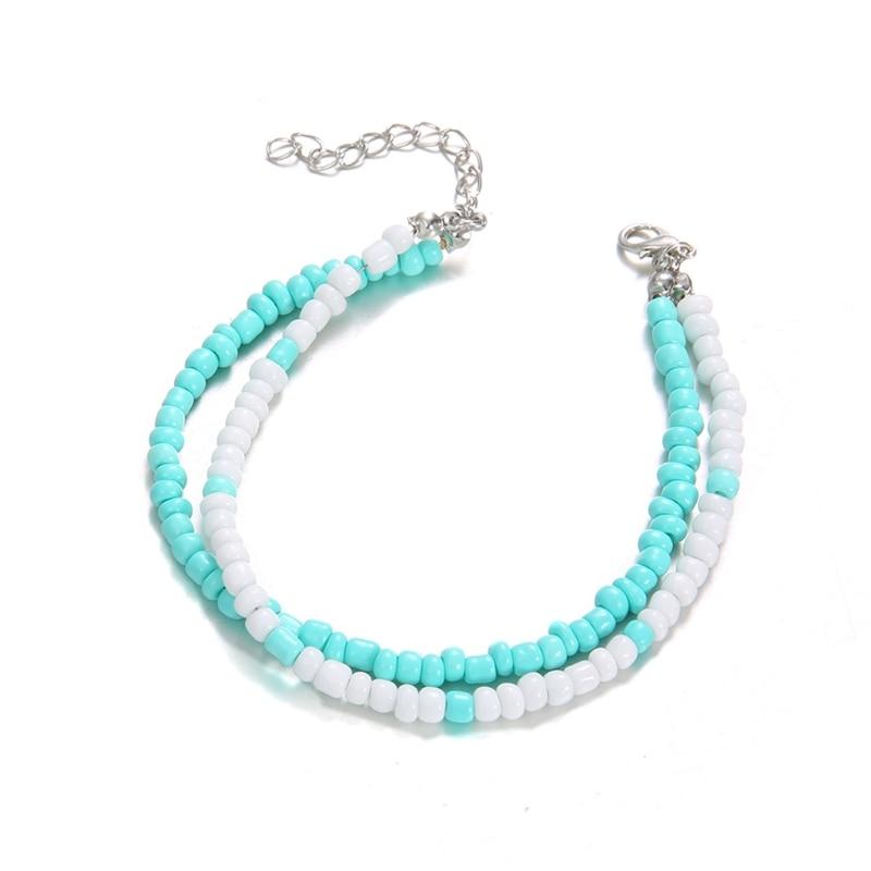 Minimalismus Multilayer Blau Perlen Frauen Ankle Armbänder Fuß Kette Strand Barfuß Exquisite Fußkettchen Harmonische Farben